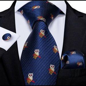 Owl Print Men's Silk Coordinated Tie Set
